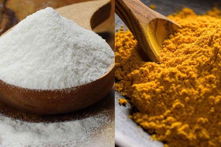 Rice Flour And Turmeric Face Pack