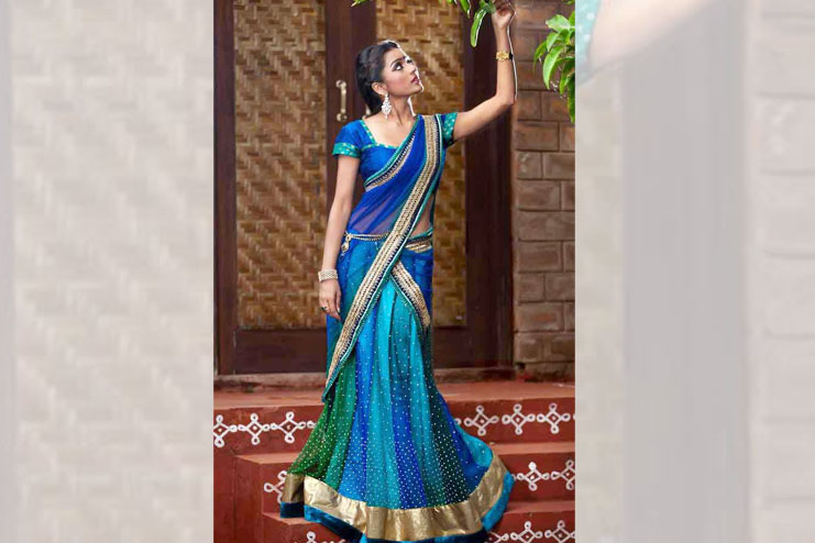 Blue Half Saree For Women