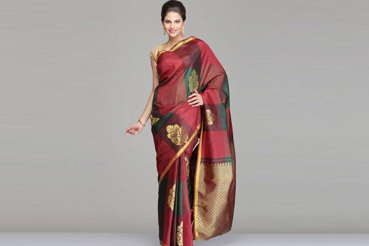 Multicolored Checkered Kanchipuram