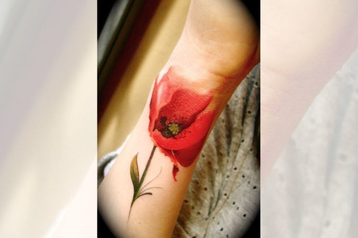 Flower Watercolor Wrist Tattoo