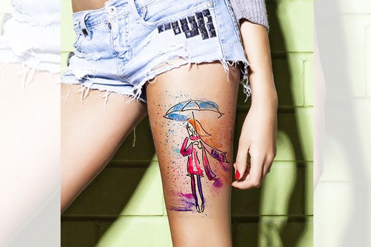 Thigh Watercolor Tattoo