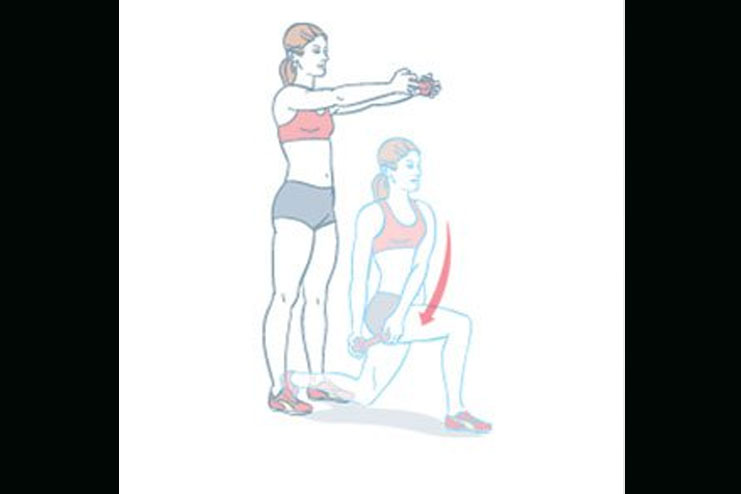 Dumbbell Rotational Lunge