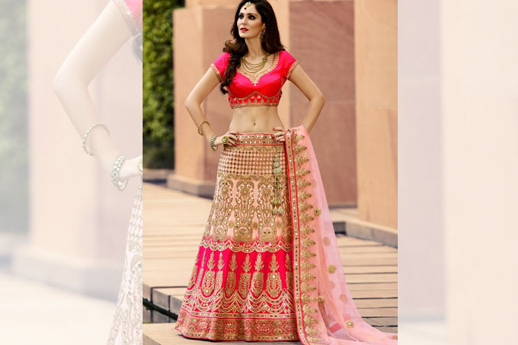 Neon Pink Bridal Lehenga Choli