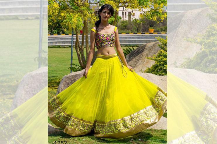 Lemon Yellow Neon Bridal Lehenga