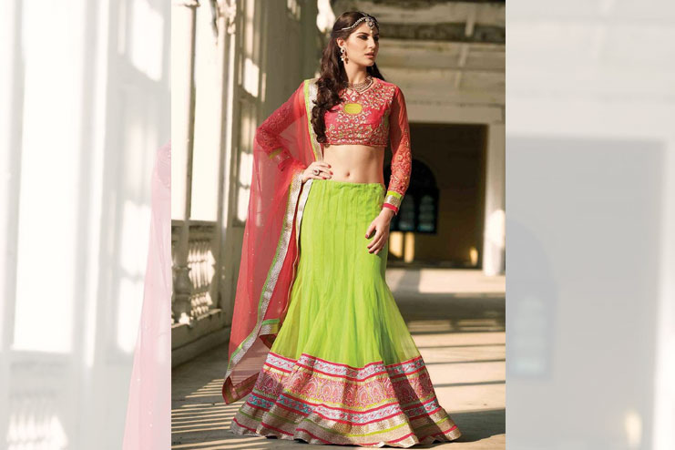 Red And Green Neon Bridal Lehenga