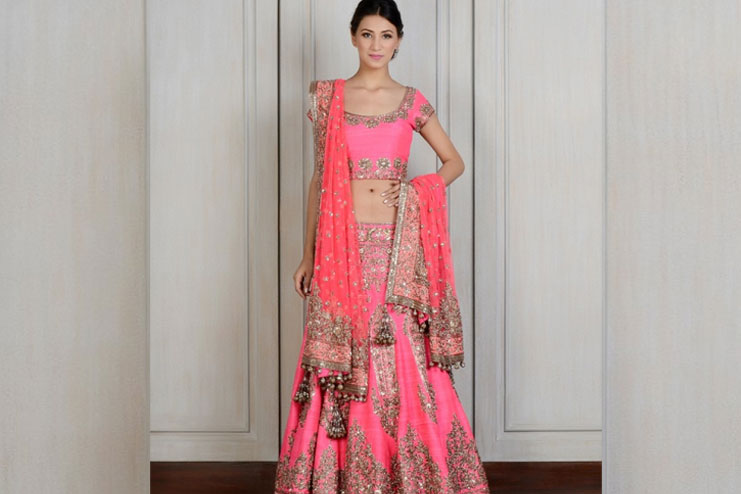 Fluorescent Peach Colored Bridal lehenga