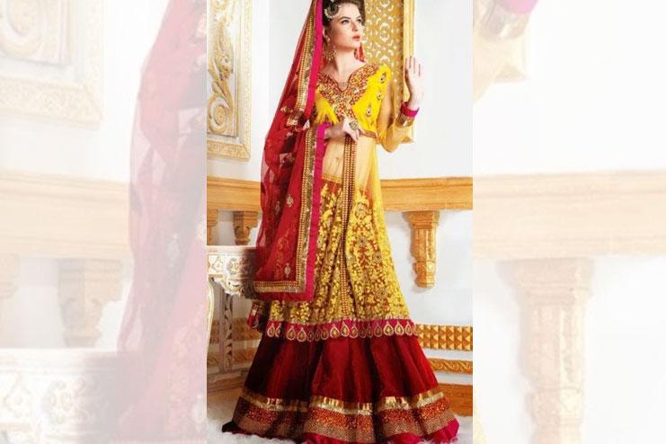 Yellow And Red Neon Bridal Lehenga