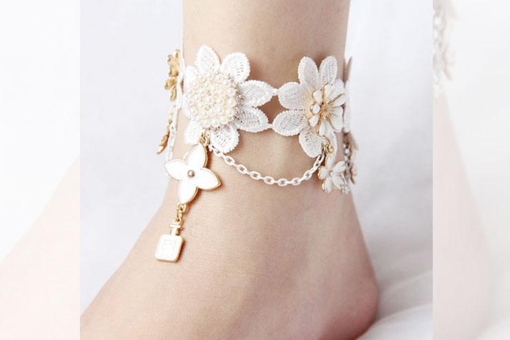 Dance Lace Flower Ankle Bracelet