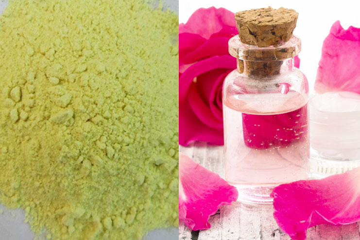 Green Gram Flour and Rose Water