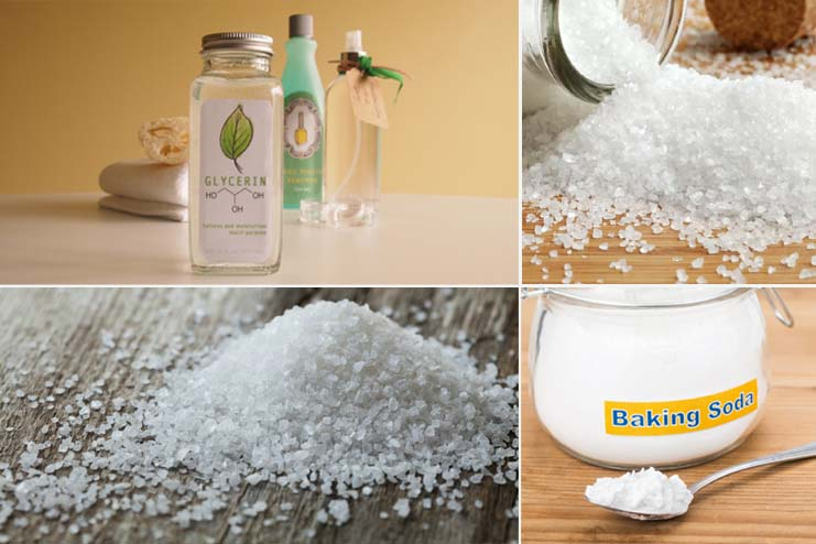 Baking Soda, Sea Salt, Epsom Salt And Glycerin