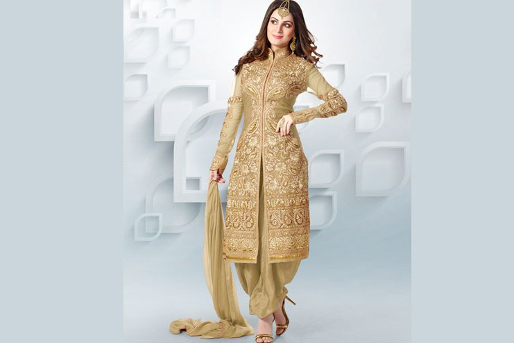 Designer Golden Half-Patiala Suit