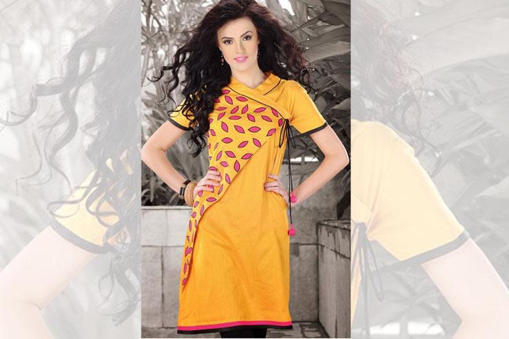 Angrakha Style Bright Yellow Kurti