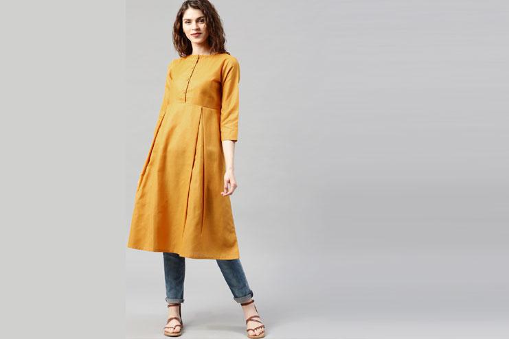 Women Mustard Solid A-Line Kurta