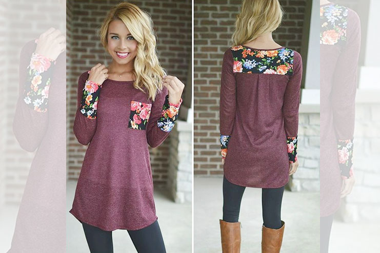 Floral Printed Tunic Top With Legging