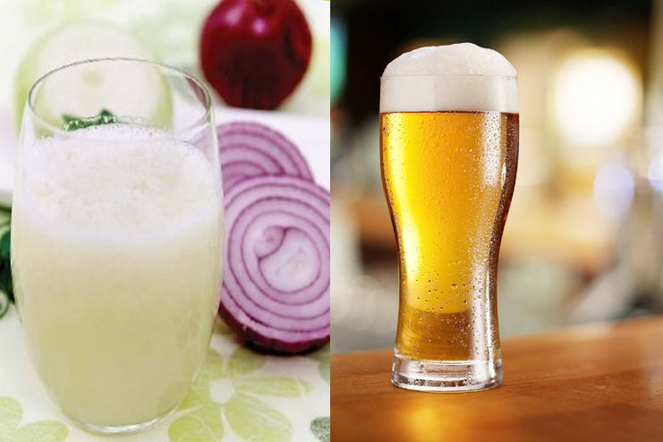 Onion Juice And Beer For Hair Growth