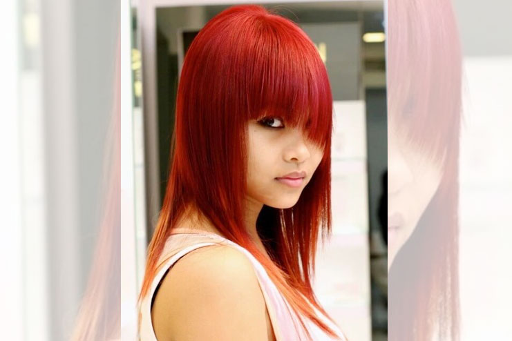 Red feather cut