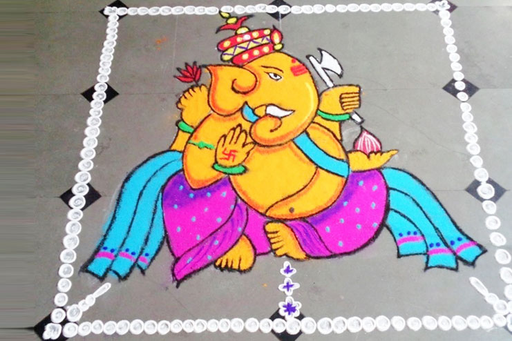 big life size rangoli designs here is a perfect ganpati rangoli design they can use for the