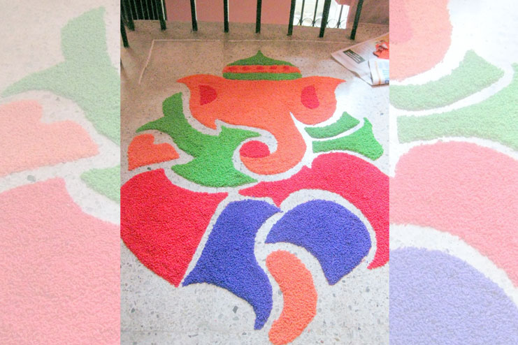 impressions and draw an elaborate rangoli