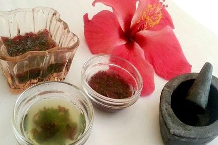 Hibiscus and fenugreek powder