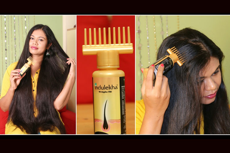 To apply Indulekha hair oil