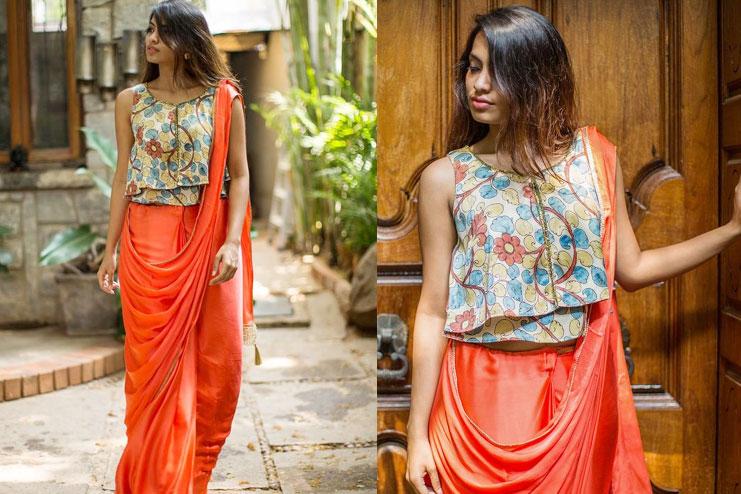 Kalamkari crop top blouse