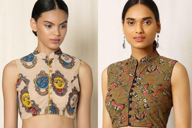Closed neck kalamkari blouse