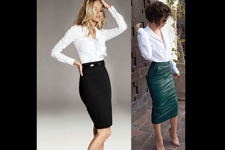 Over a pencil skirt