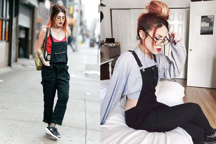 Black Overalls with crop top