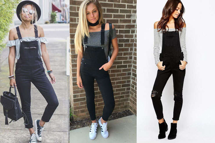 Black Overalls with Off Shoulder
