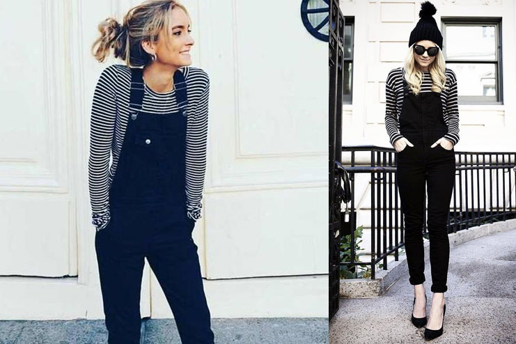 Black Overalls with Stripes