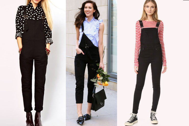 Black Overalls with prints
