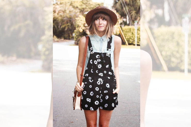 Hat with a dress over shirt look