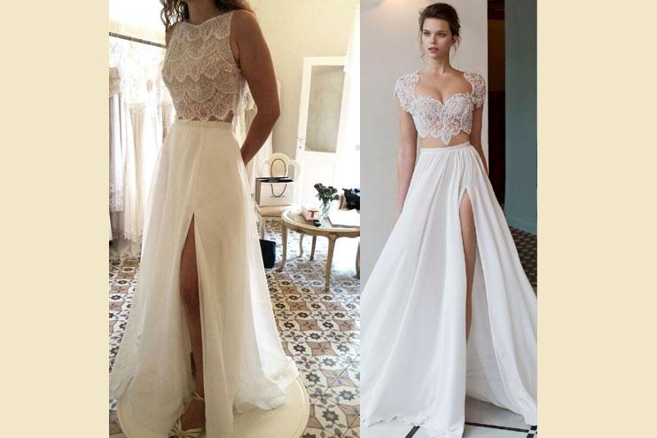 Two piece dress with a slit