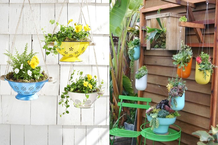 Use colorful hanging planters