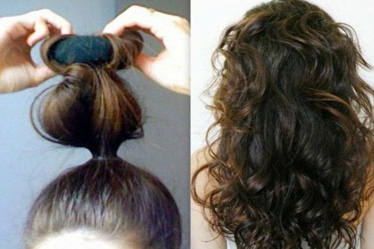 Sock Bun Wavy Curls