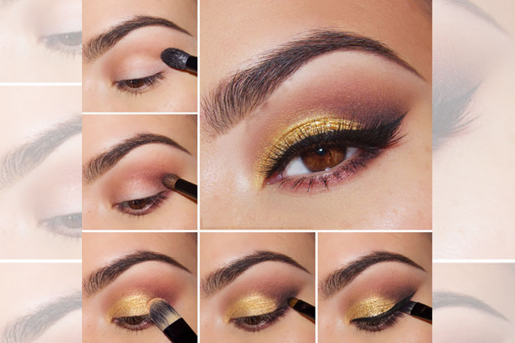 How to apply gold eyeshadow