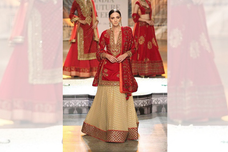 Bridal lehenga with long kurti