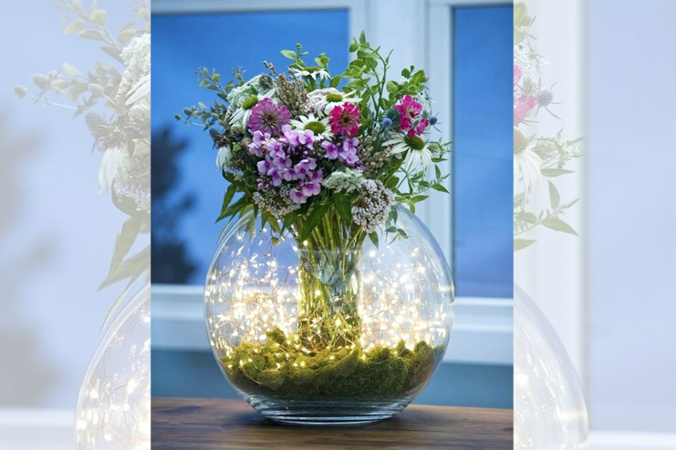 Classy vases with fairy lights