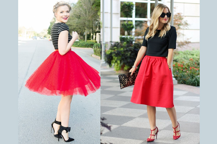 A red flared short Skirt