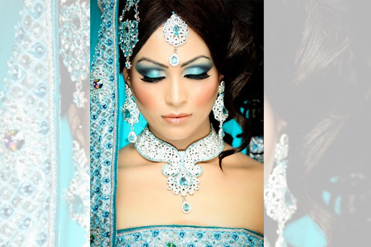Blue and silver eyeshadow