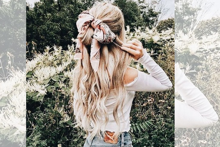 Hairstyle with ribbon