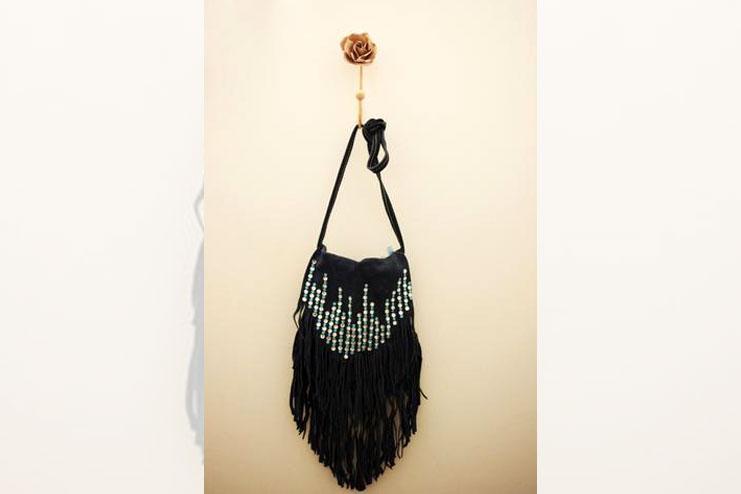 Handmade handbag with tassels