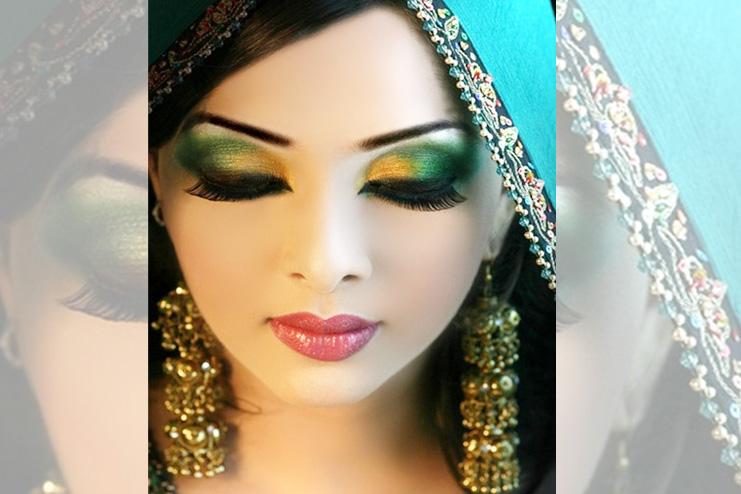 Orange and green eyeshadow