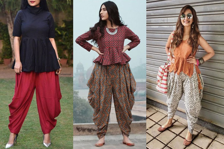 Flared top with dhoti pants