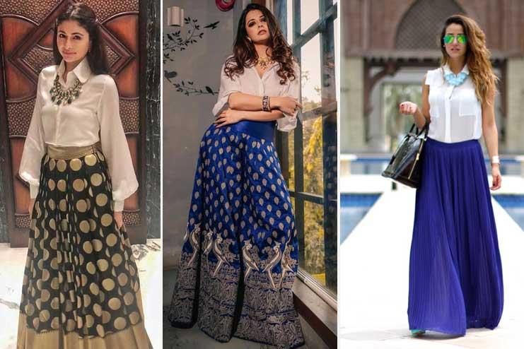 Plain-shirt-vibrant-colour-skirt
