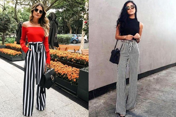 Striped Palazzo pants With Shirt-tee