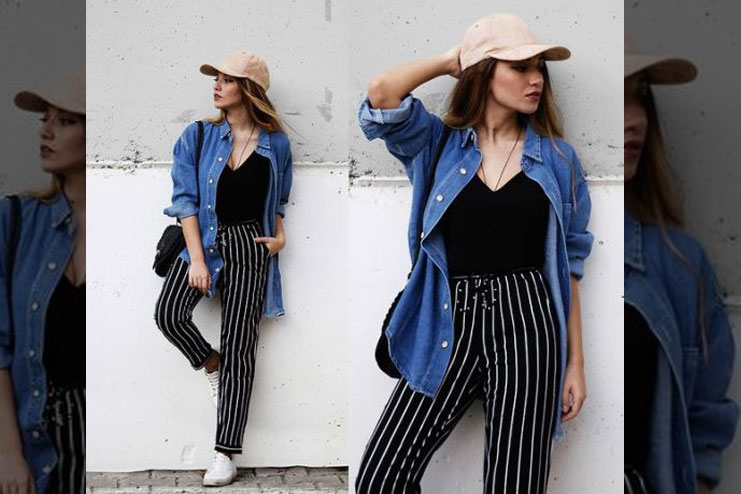 Striped Palazzo pants With Shirt