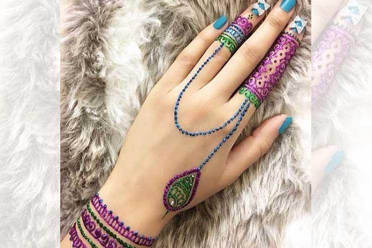 Purple-and-blue-glitter-mehndi